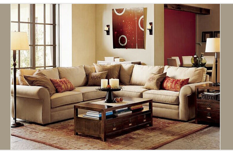一善一品 美式乡村沙发 客厅田园 地中海双三人组合 可拆布艺沙发5009图片