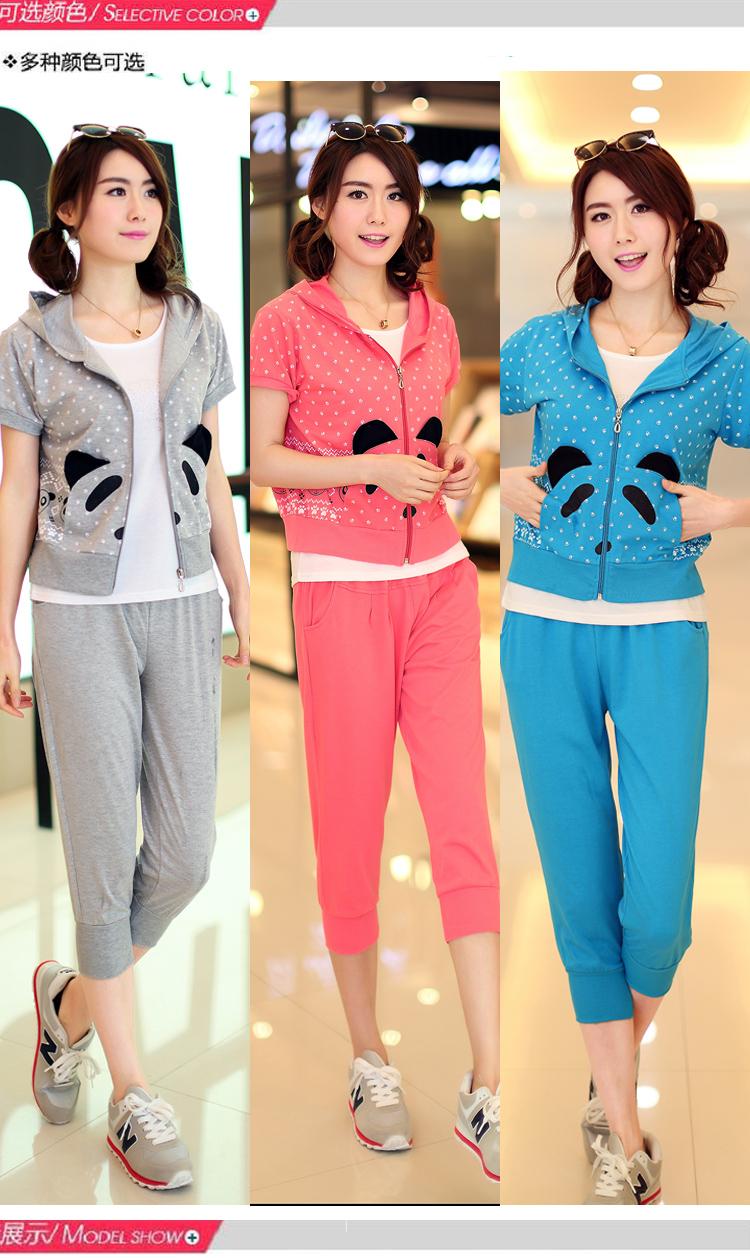 殴淼2015新款少女夏装韩版三件套休闲套装短袖女装中学生运动服 蓝色.