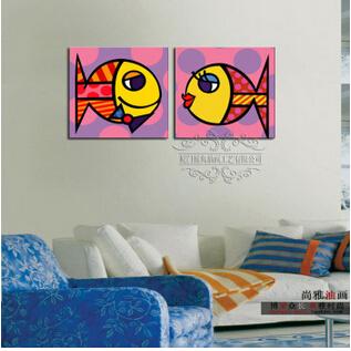 墙画手工画餐厅画亲嘴鱼