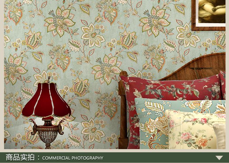 梵迪欧壁纸 美式复古乡村大花纯纸墙纸 客厅卧室背景墙田园壁纸gc1042图片
