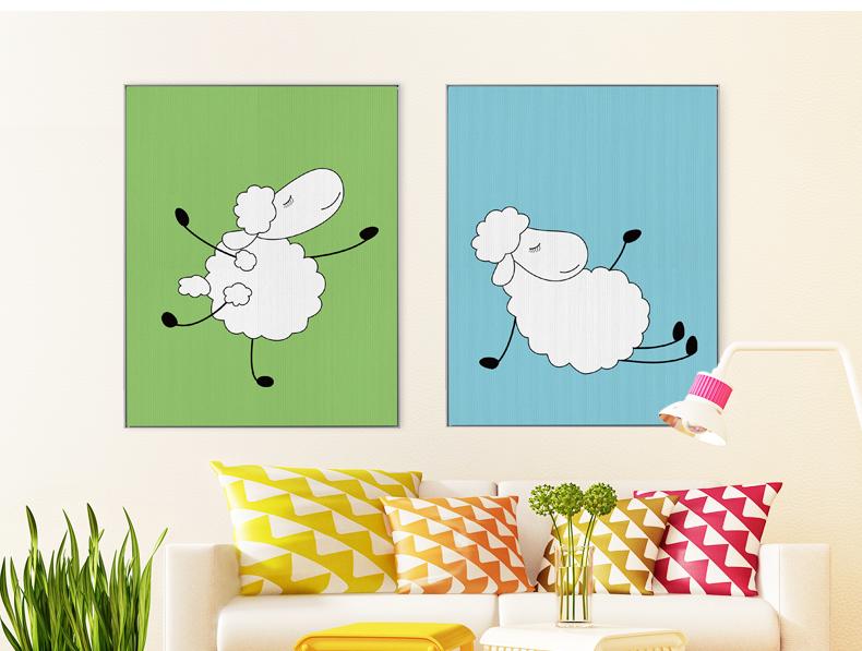 咪卜儿童房装饰画客厅现代卧室床头电表箱有框卡通羊