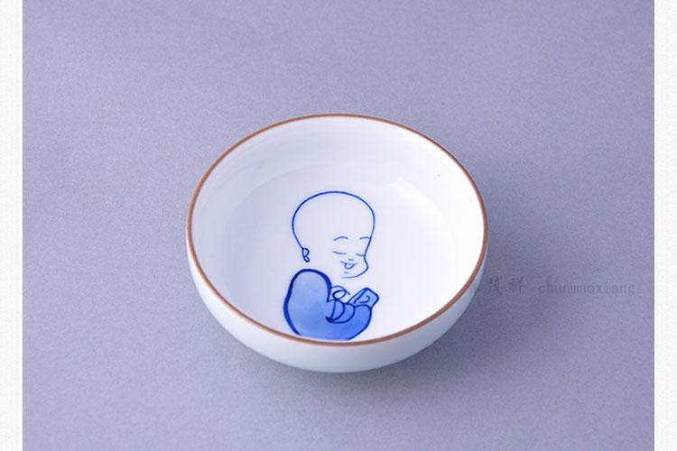 春茂祥景德镇青釉青花瓷纯手工手绘小和尚精品茶杯沙弥悟禅品茗杯