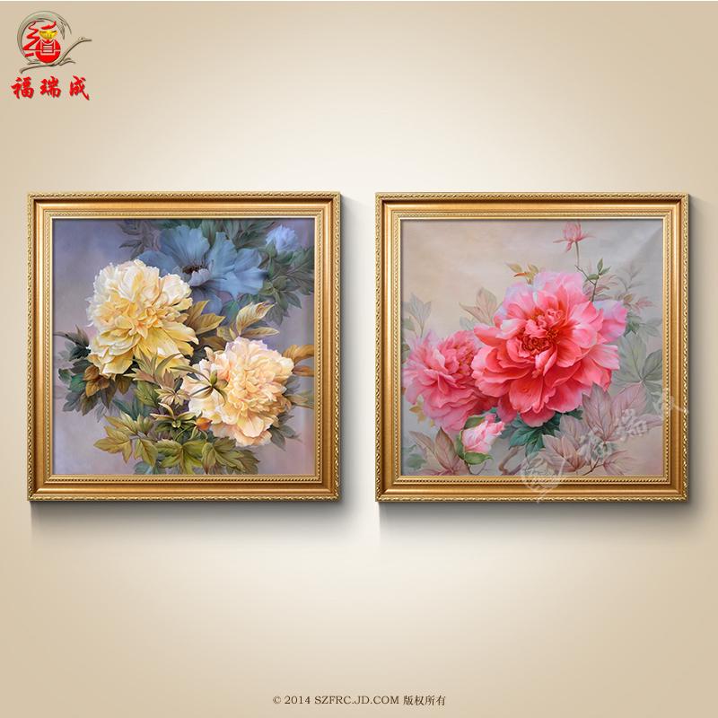 纯手绘画简欧欧式油画客厅卧室餐厅挂画印象花卉挂画图片