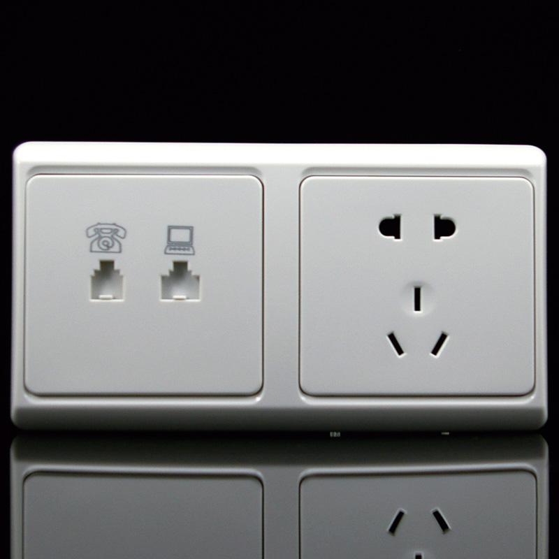 gab佳安宝电视电话插座开关面板双86五孔插座有线闭路