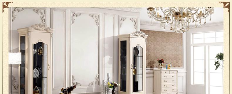 慕艺家居 法式田园酒柜 玻璃门 仿古白欧式客厅展示柜