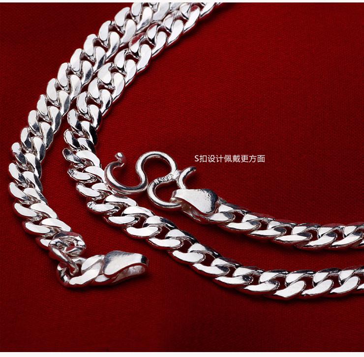 尚文珠宝 s990男士经典纯银项链 同心结 10160