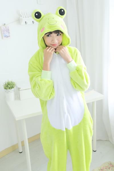 黛沫daimo 亲子装女家居连体动物睡衣卡通青蛙秋冬季长袖大码珊瑚绒