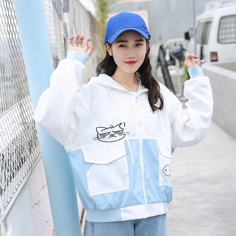 安玛姿美少女装初中学生短外套女2018春季韩版宽松少女拼色小清新连帽