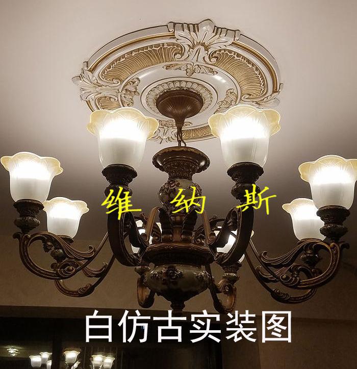 巧立方 欧式吊顶灯池客厅天花板造型装饰仿石膏灯盘圆形雕花pu装修