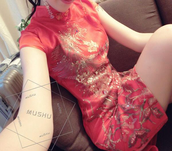 2015中国风时尚金丝刺绣凤凰图案修身旗袍连衣裙3125