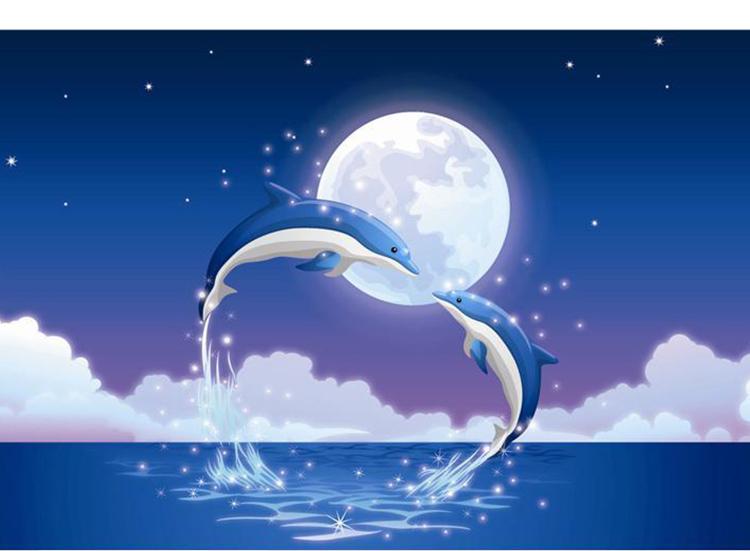 幼儿园书包卡通可爱儿童书包男女童书包小海豚书包 全蓝色