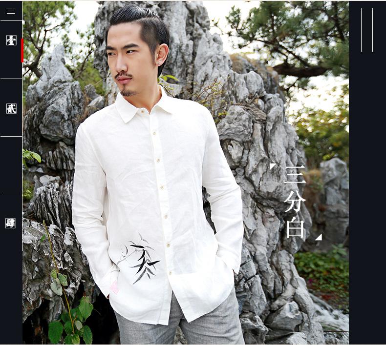 骑豹郎长袖衬衫男秋季新款手绘衬衣亚麻衬衣中国风师