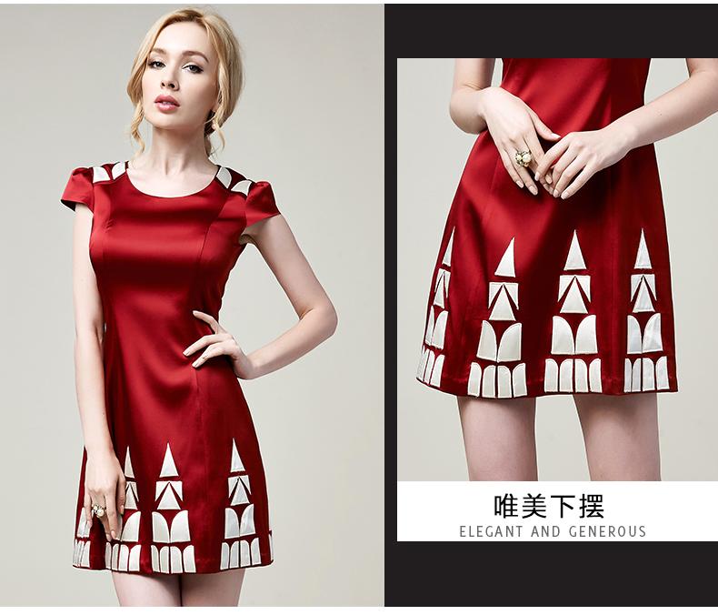 国际奢华品牌 法玛莎夏装连衣裙大码女装裙修身丝绸裙子 白色 xxxl