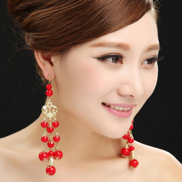 七色七音 古装新娘耳环红中国风红色耳饰结婚耳坠流苏