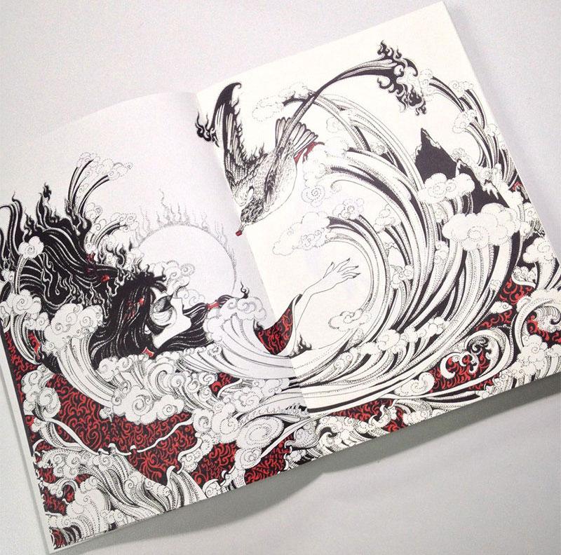 正版全套3册 洛煌笈 黑白画意专业手绘插图攻略 山海经 钢笔手绘画
