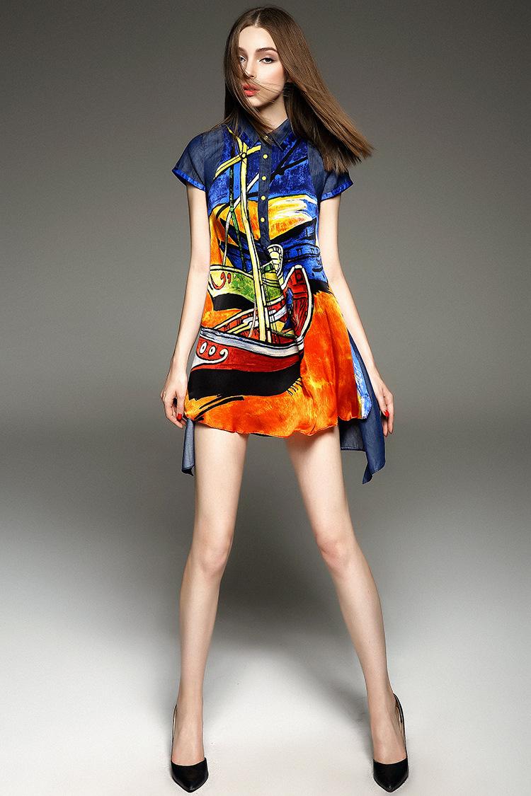 欧美����y�)��a_芮婕服装y249欧洲站2015夏季新款女装欧美大牌优雅真丝印花a字连衣裙