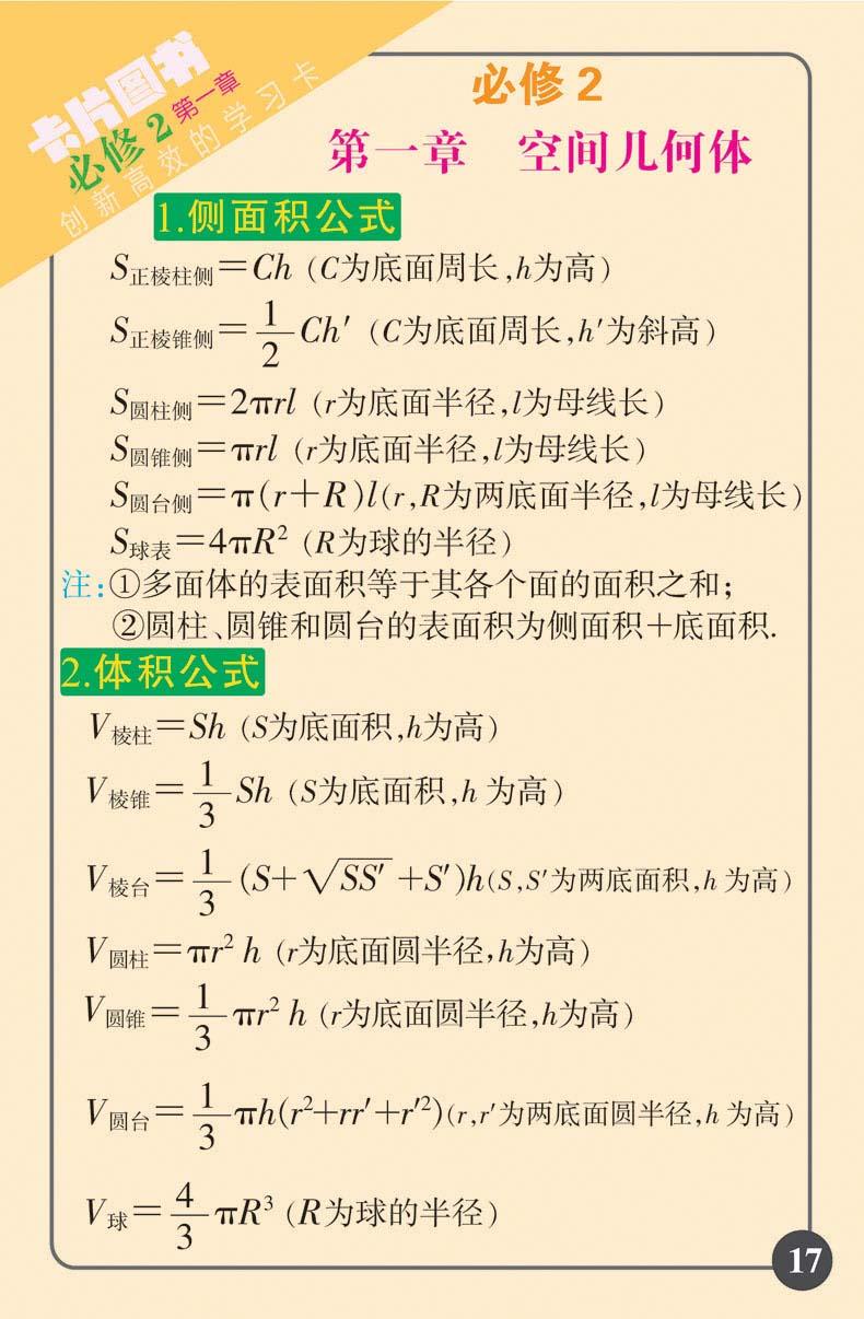 2017新品 高中卡片图书 高中数学公式定理 必修 选修 高中教辅 高考图片