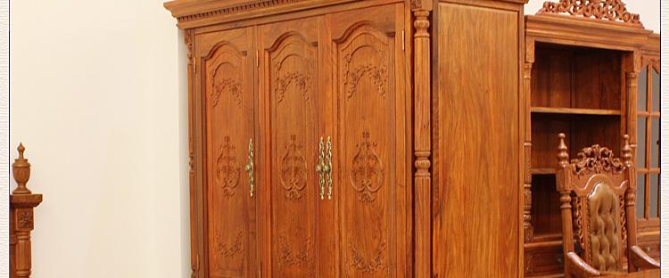 三门衣柜 欧式实木衣橱 非洲黄花梨卧室储物柜1.