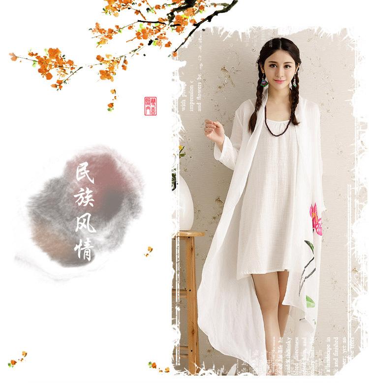 红晶灵2015夏新款手绘荷花开衫文艺民族棉麻女装薄外套印花披肩防晒衣
