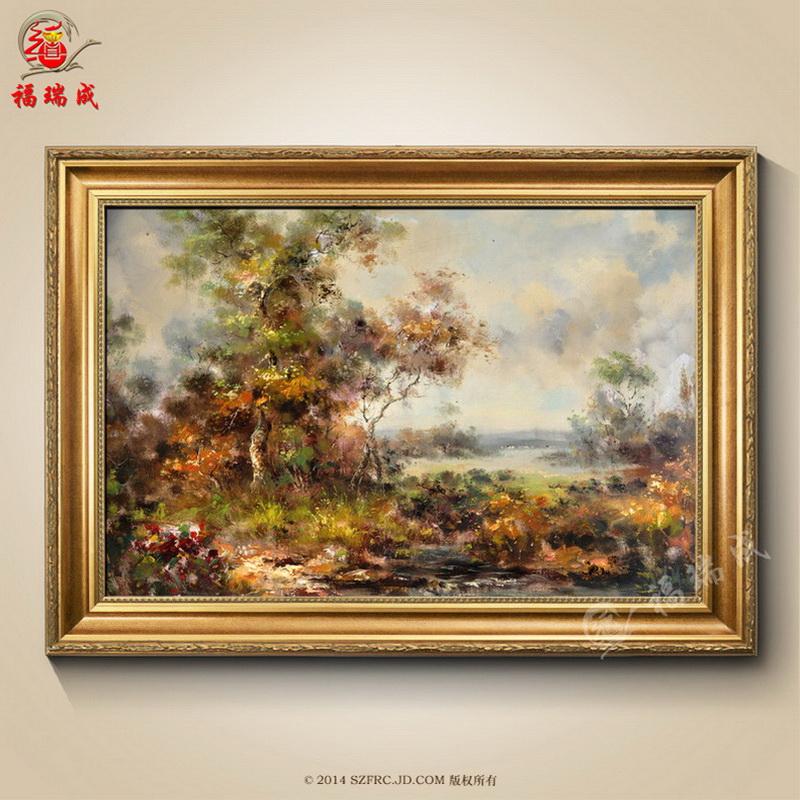 欧式山水风景纯手绘油画挂画古典风景 办公室玄关客厅