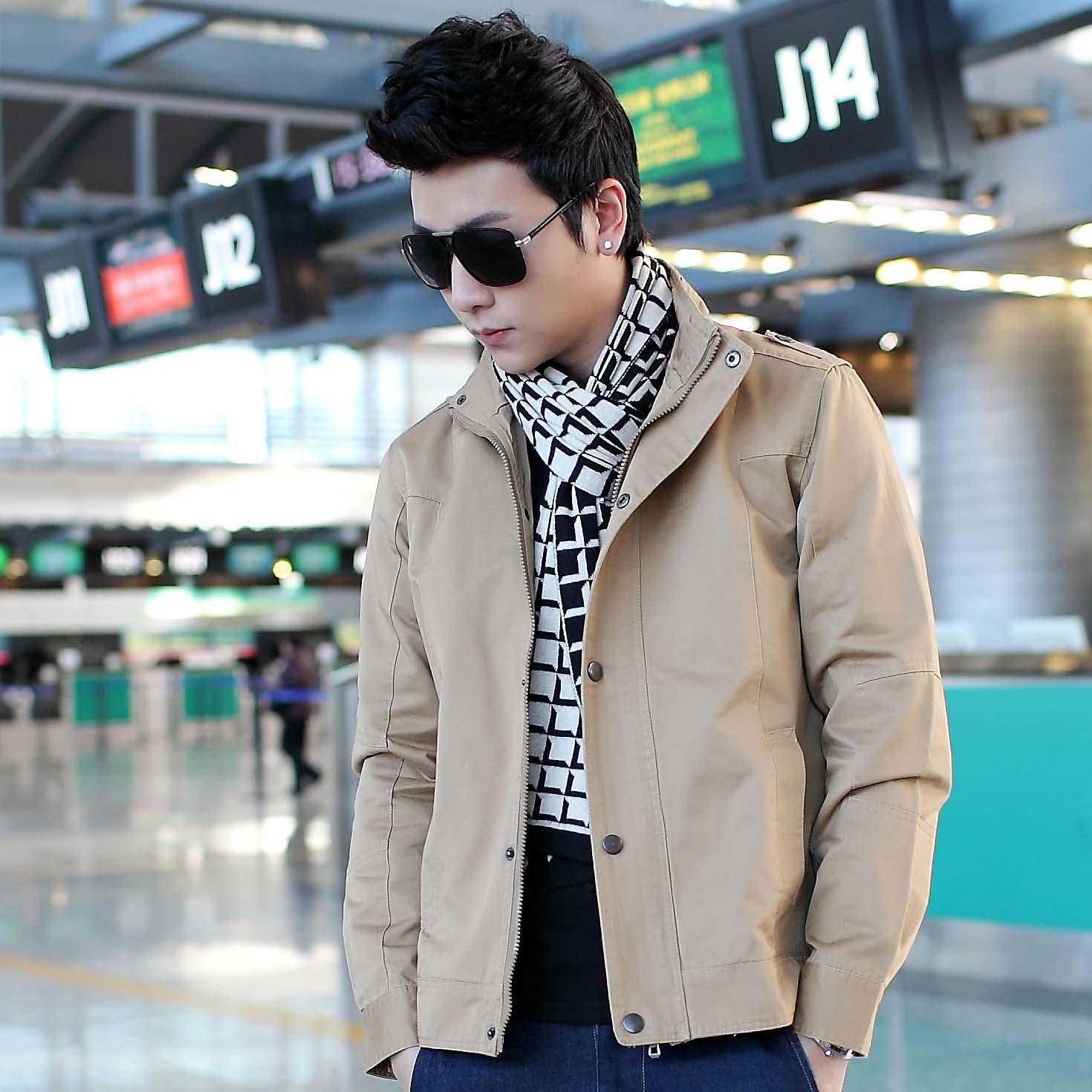 青少年潮男男装_丹杰仕 支持货到付款 秋冬男装青少年韩版修身潮男休闲连帽夹克外套
