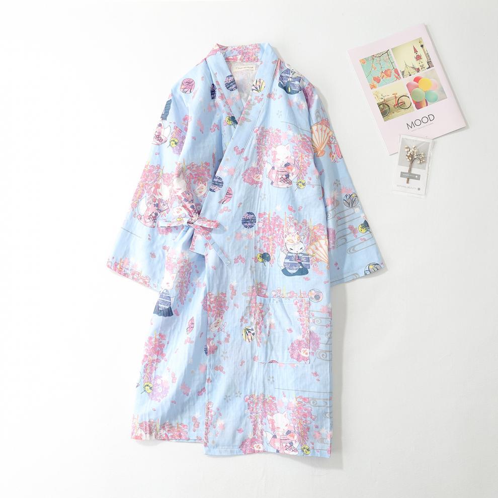 春夏秋季薄款纯棉纱布睡袍情侣日式男和服浴衣睡衣睡裙汗蒸服桑拿 男