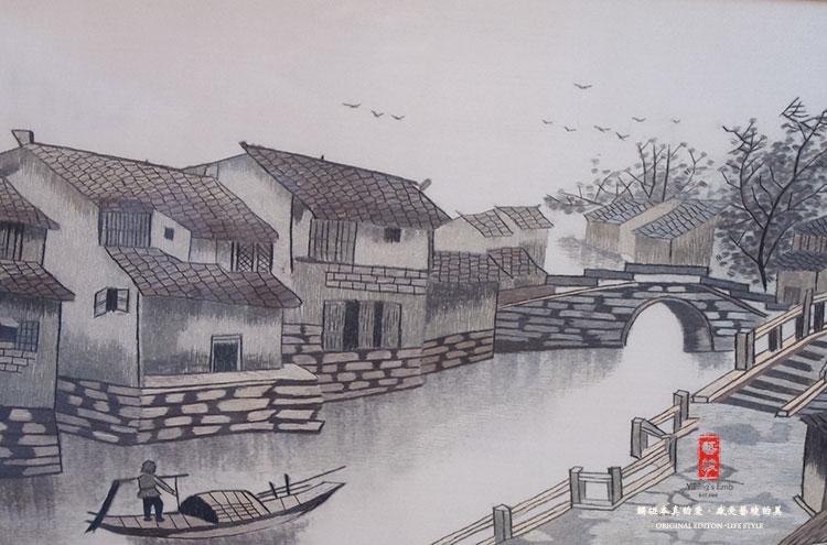 水墨江南民居水乡客厅山水风景画丝绣装饰有框壁画