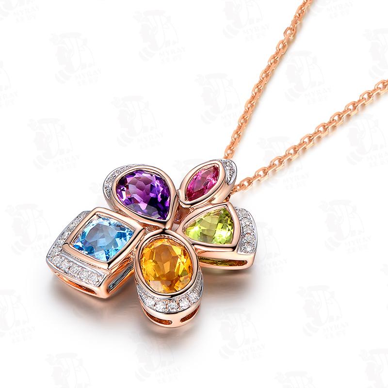 7克拉彩色宝石吊坠 0.14克拉彩色宝石配钻石项坠 10个工作日定制