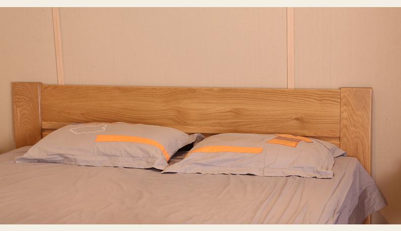 树之声 北欧双人床白橡木实木家具 全实木双人床 卧室