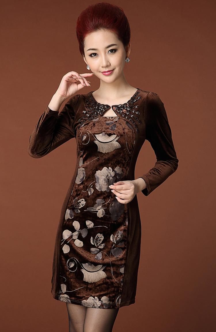 金丝绒衣裙长袖