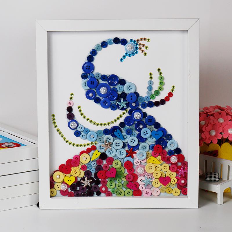儿童手工制作创意纽扣画花diy材料包含裱框小猪佩奇 太空船 含裱框_ 8