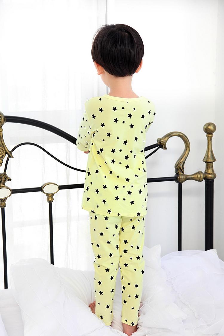 纯棉儿童睡 秋季韩版小星星男女童家居服舒适长袖套装