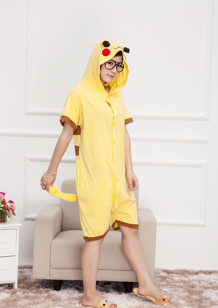 靓莎绮 2015夏季搞怪爱情公寓棉质动物皮卡丘连体睡衣
