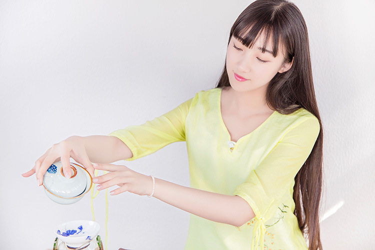 诺焕尔  新款夏手绘母女装连衣裙茶服子装 文艺范琴服