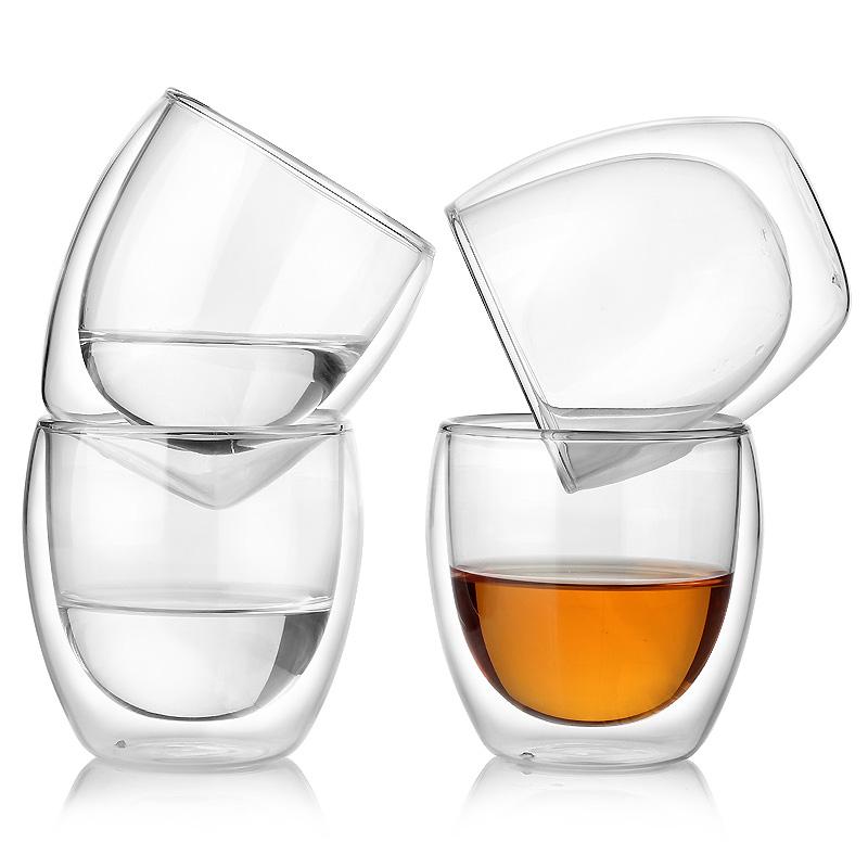 卡普家居双层玻璃杯透明水杯手工耐热柠檬杯子 牛奶杯