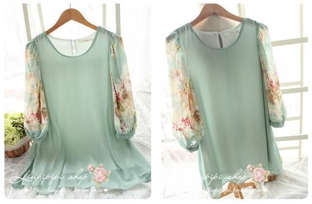 复古日式小清新森林系公主风甜美手绘花朵灯笼袖连衣裙#9134 绿色