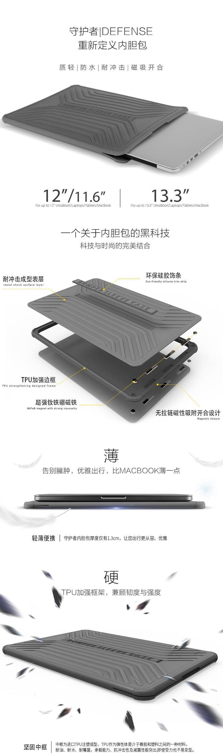 WIWU 守护者内胆包苹果笔记本电脑内胆包MacBook Air 13.3英寸/iPad保护套防摔套