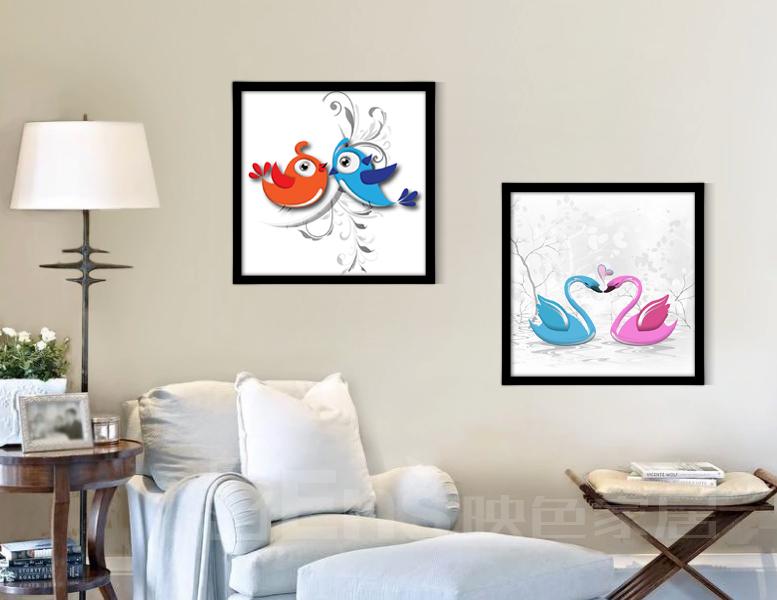 简约小清新有框装饰画客厅卧室餐厅玄关挂画壁画爱情鸟动物 一套四幅