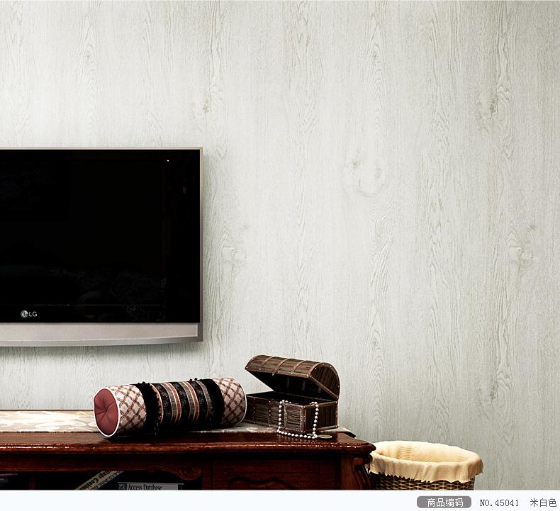 帝菲 美式乡村仿木纹墙纸卧室客厅背景墙 纯色壁纸 浅