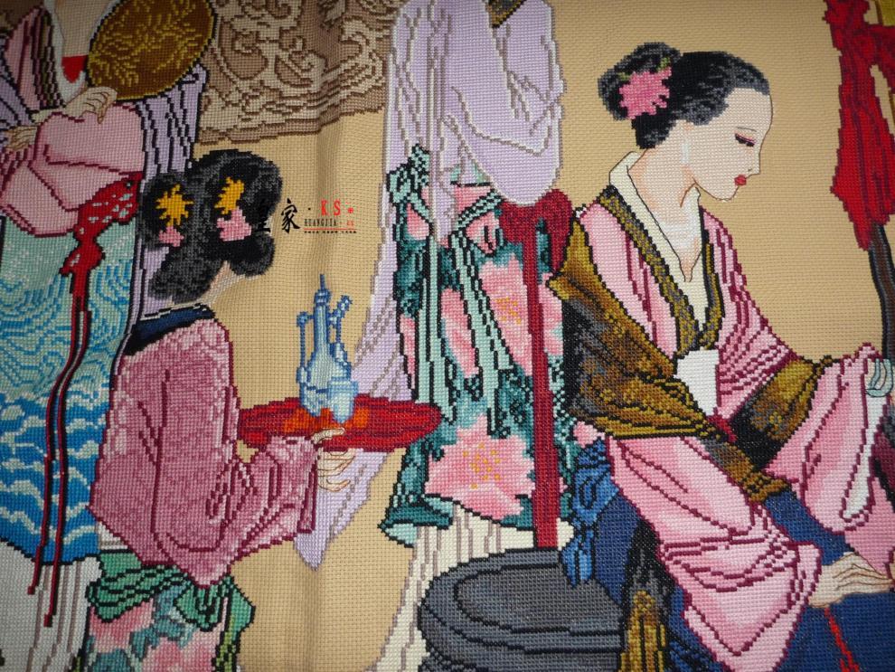 十二金钗十字绣十二金钗琴棋书画红楼群芳图新款客厅大幅 3.