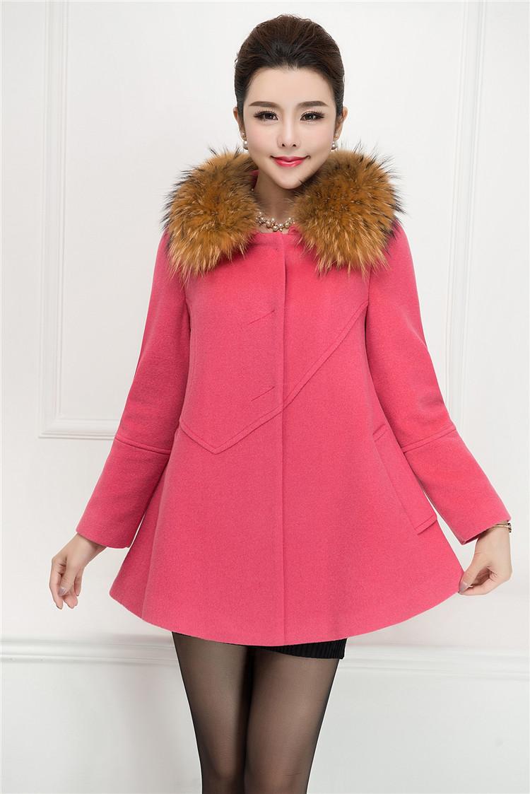 2015冬新款高端短款羊绒大衣女 狐狸毛领韩版羊毛大衣图片
