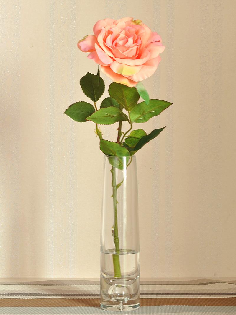 为花+花瓶一起的价格 材质 玻璃花瓶,仿真假水,绢布仿真玫瑰花 可选