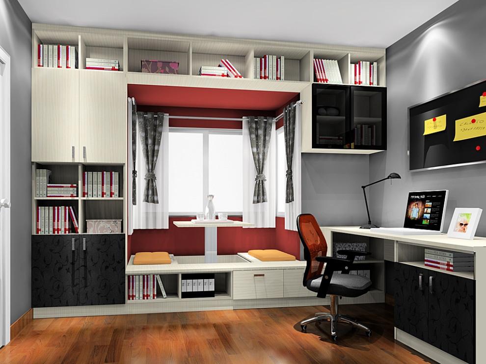 尚品宅配 书柜书架 连体书桌柜凹位设计 飘窗 榻榻米升组合设计 上门