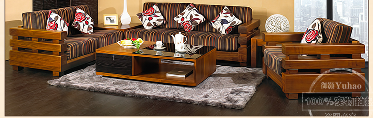 御颢贵族缤纷条纹家具实木沙发中式布艺转角组合6sf