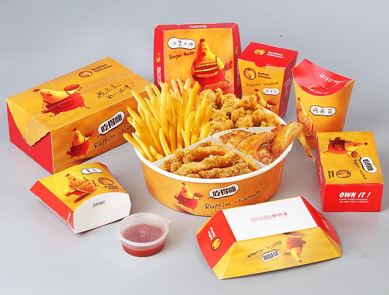 纸管家 一次性炸鸡薯条盒汉堡盒鸡米花鸡块鸡翅外卖打包盒鸡腿纸盒图片