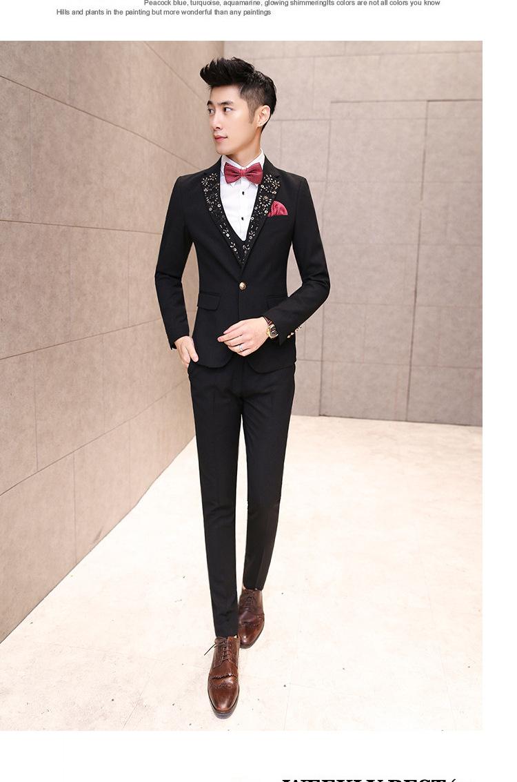 2015男士西装三件套潮男西服套装韩版英伦小