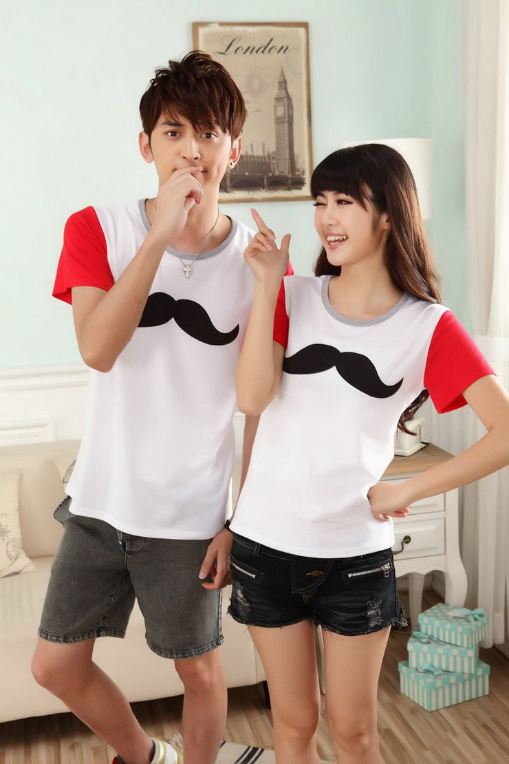 名称:小胡子卡通图案短袖t恤情侣装 颜色:白色 尺码:女 ml&nbs图片
