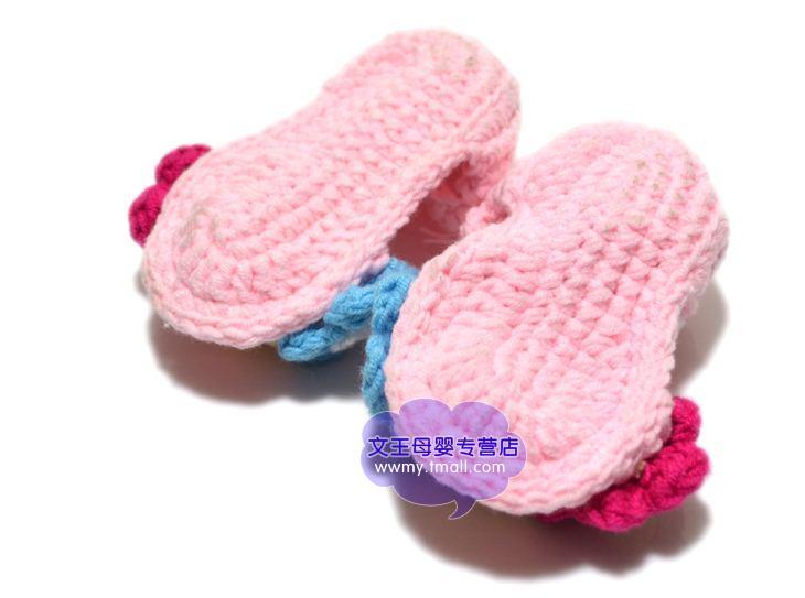 眼镜兔春夏季男女宝宝鞋子手工鞋编织毛线鞋子可爱婴幼儿凉鞋新生儿鞋