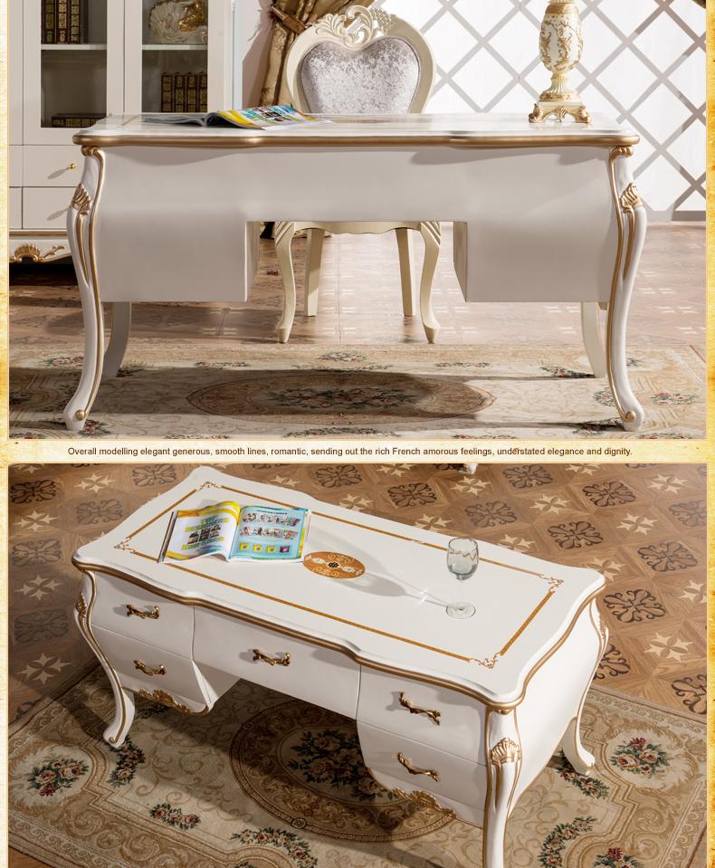 艾诗图 欧式书房书桌 雕花描金 多抽储物 高贵典雅 e图片