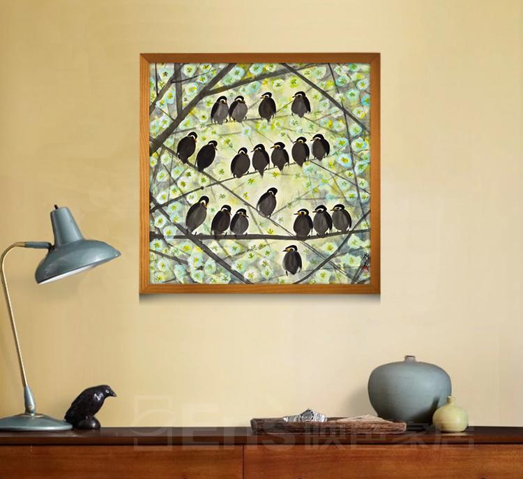 唯美简约小清新有框装饰画客厅卧室餐厅玄关挂画壁画 树花植物 单幅